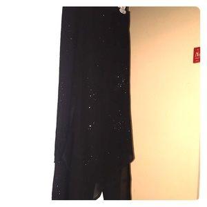 Dress slacks with skirt accent overlay